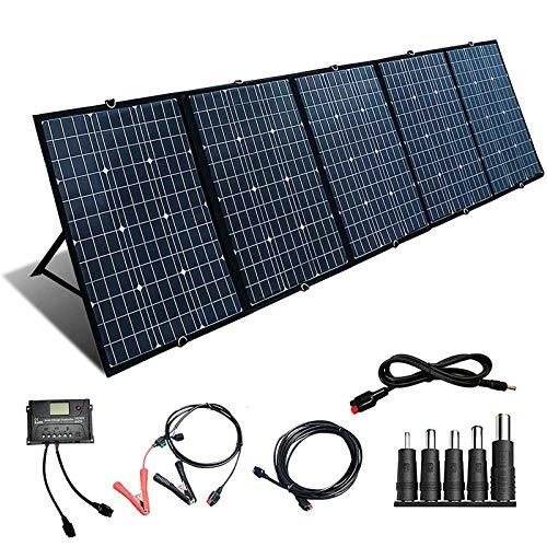 Tragbares Solar Ladegerät 300W 12V Faltbares Solarpanel Solarmodul Wasserdicht Outdoor Charger mit Anderson 18V Ausgan 20A Laderegler+5M Andersonkabel für 12v Batterie/RV/Camping/Handys(300w)