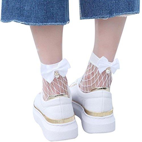 SHOBDW Damen Netzsocken, Frauen Ruffle Netzsknöchelstrümpfe Mesh-Spitze Fisch-Netz kurze Socken (Weiß)