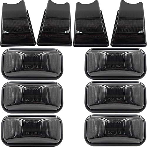 10pcs OEM Hummer Cab Roof Lamps Housing For 2003 2004 2005 2006 2007 2008 2009 Hummer H2 and 2005-2009 Hummer H2 SUT Top Clearance Marker Smoked Lens OEM Front Rear Cab Roof Bulbs Shell