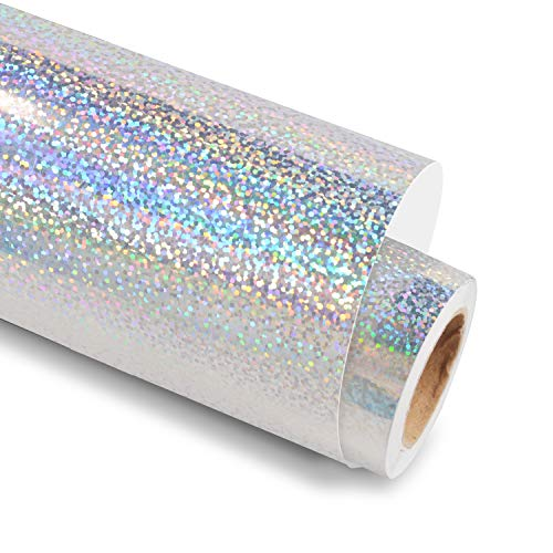 Holographic Chrome Silver Vinyl Glitter Adhesive Craft Vinyl 12 Inch X 6 Feet for Crafts, Cricut, Silhouette, Expressions, Cameo, Decal, Signs, Stickers,Glitter Silver