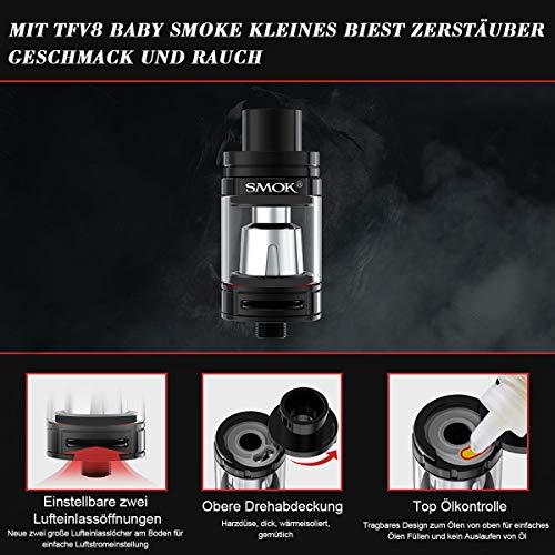 E Zigarette, Original Smok RHA220W(Alien) Kit mit TFV8 Baby Tank, Verdampfer Starter Set und 2 * 3000mAh Wiederaufladbare Efest-Batterien, Ohne E-Liquid, Ohne Nikot (Schwarz Rot)