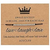 Joycuff 女の子への誕生日プレゼント シルバービーズストランド ラップブレスレット 1ビーズ 1年間調節可能 コード ほとんどの手首にフィット
