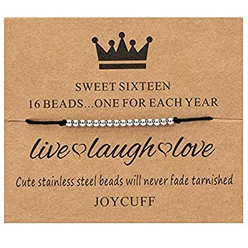 Sweet 16 Gifts for Girls 16th Birthday Bracelet Gift Idea for 16 Year Old Girls with Silver Bead Strand Cord Adjustable Bracelet