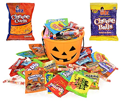 Halloween Care Package Gift Basket -Filled with 1.5 Lbs Halloween Candy Treats - Perfect Candies and Snacks for Kids, Girls, Boys, Child, Toddler and College Students - Comes with Halloween Bucket
