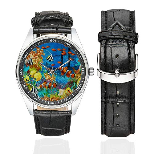 InterestPrint Coral Reef Fishes Ocean Sea Life Men's Black Leather Strap Watch Waterproof Casual Watches