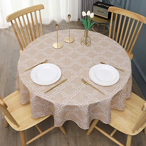 AooHome 円形 テーブルクロス ラウンドグロスー 撥水加工 北欧カーキ色 洗える 150cm直径 丸型