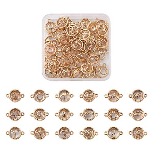 PandaHall 36pcs Flat Round Glass Links Connectors Glass Charms Pendant Connectors with Light Gold Plated Alloy Findings for Necklace Bracelet Jewelry Making