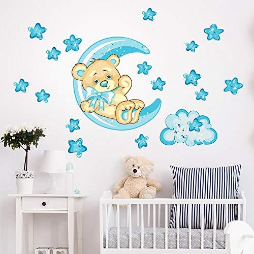 R00318 Adhesivos de Pared Luna Osito de Peluche Estrellas Decoración niños Dormitorio Infantil - Papel Pintado Adhesivo Efecto Tela
