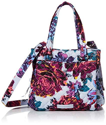 Vera Bradley Signature Cotton Mini Multi-Compartment Crossbody Purse, Neon Blooms