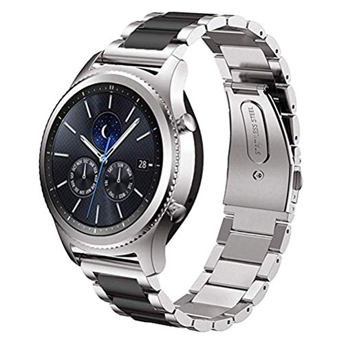 DD Armband Kompatibel mit Galaxy Watch 46mm / Galaxy Watch 3 45mm / Samsung Gear S3 Frontier/Classic Smartwatch/Huawei Watch GT, 22mm Edelstahl Ersat Uhrenarmband (Silber/Schwarz)