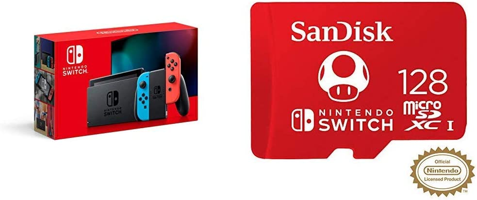 Nintendo Switch with Neon Blue and Neon Red Joy‑Con - HAC-001(-01) + SanDisk 128GB MicroSDXC UHS-I Card