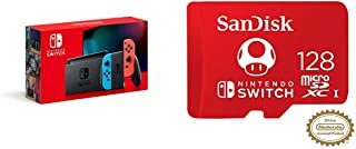 Nintendo Switch with Neon Blue and Neon Red Joy‑Con - HAC-001(-01) + 128GB MicroSDXC UHS-I Card