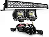 AUSI LED Light Bar Curved Triple Row Light Bars + 2PCS 4in 60W LED Pods Off Road Driving Fog Lights with Rocker Switch Wiring Harness Kit for Trucks Polaris ATV SUV Boat Lighting (5D 32inch+4inch)