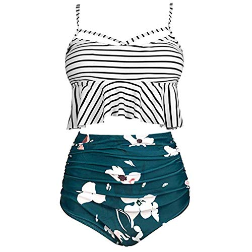 Tooth Bikini Damen Plus Size Set Geteilter Swimsuit Stripe Print Ruffled Mesh Bikini Set mit Bikini High Waist Retro Hoher Taille Strandkleidung Bikinihose (Armeegrün,XXXXXL)