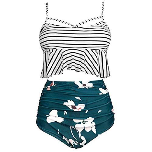 Tooth Bikini Damen Plus Size Set Geteilter Swimsuit Stripe Print Ruffled Mesh Bikini Set mit Bikini High Waist Retro Hoher Taille Strandkleidung Bikinihose (Armeegrün,XXXXXL)