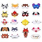 Masken für Kinder Filz Tiermasken Bauernhof-Tiere mit Elastischen Seil für Halloween Weihnachten...