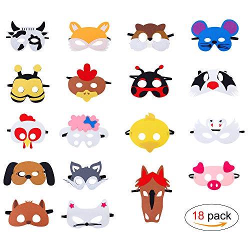 Máscaras de Animal de Fieltro para Niños con Cuerda Elá