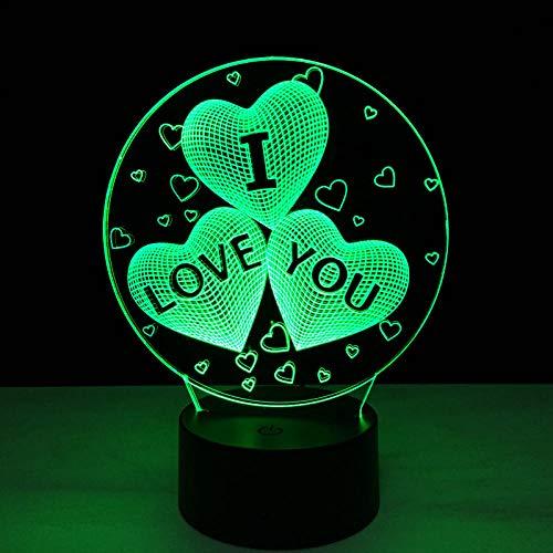 Luces de ilusión 3D 3D, luz nocturna de acrílico, 7 colores cambiantes, USB, romántica, lámpara de mesa táctil, decoración para bodas, regalos para niños
