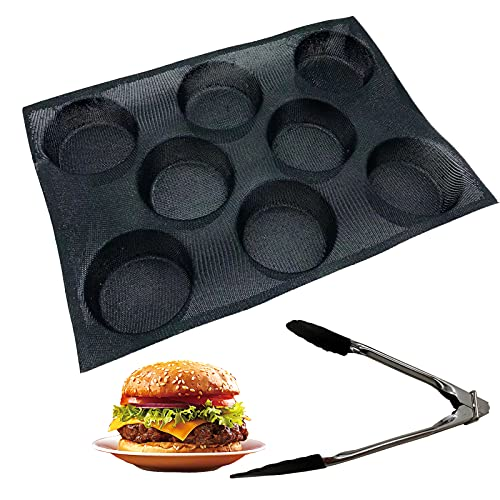 Silicone Hamburger Bun Pan Perforated Bakery Molds Non Stick Baking Sheets&Food Tongs Sheets Fit Half Pan Size for Baking Mould for Bread, Buns, Puffs, Tartlets More, 8 Cups