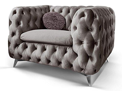 Chesterfield Sofa Couch Stoff Samt 3 Sitzer 2 Sitzer Sessel 1 Sitzer Designer Möbel Emma (1-Sitzer, Silber-Grau)