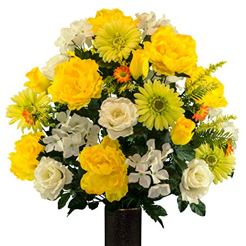 Sympathy Silks Artificial Cemetery Flowers – Realistic Vibrant Daisies, Outdoor Grave Decorations - Non-Bleed Colors, and Easy Fit - Yellow White Peony Daisy Bouquet with Flower Holder