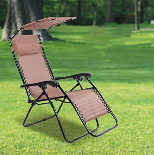 MOLLYNANA Tumbona Plegable Sillón Plegable de Exterior de Gravedad Cero con Visera Parasol Sillón reclinable Ajustable para jardín, marrón