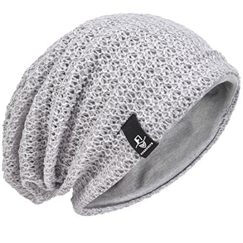 Hombre Gorro de Punto Slouch Beanie Knit Invierno Verano Hat (Gris Claro)