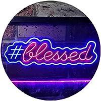 Blessed Hashtag Dual Color LED看板 ネオンプレート サイン 標識 青色 + 赤色 400 x 300mm st6s43-i3497-br