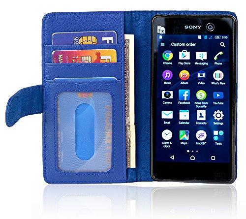 Cadorabo Hülle für Sony Xperia M5 in Neptun BLAU – Handyhülle mit Magnetverschluss & 3 Kartenfächern – Hülle Cover Schutzhülle Etui Tasche Book Klapp Style