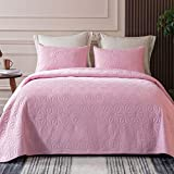Whale Flotilla Microfiber Queen Size (92x88 inches) Quilt Set Lightweight Quilted Bedspread Coverlet Set with Stars Pattern, Pink, 3 Piece (1 Quilt, 2 Shams)
