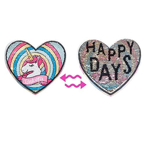 Patrón cambiable con lentejuelas en forma de corazón, hermosos patrones de unicornio y plata con forma de corazón para ropa de niña pequeña, costura en lentejuelas cambiables, unicornio de ranibow