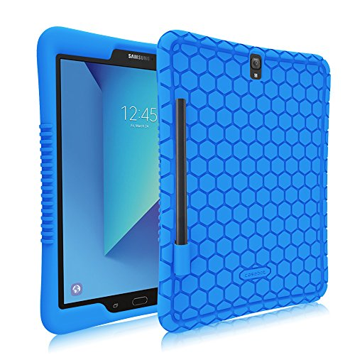 Fintie Silikon Hülle für Samsung Galaxy Tab S3 T820 / T825 24,58 cm (9,68 Zoll) Tablet-PC - [Bienenstock Serie] Leichte rutschfeste Stoßfeste Schutzhülle Cover Hülle Tasche mit S Pen Halter, Blau
