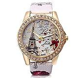 TOPofly Reloj de Las Mujeres, analógica Reloj de Cuarzo Movimiento con patrón de Cuero Brazalete Torre Eiffel Dial Reloj de Pulsera (Blanco, batería incluida) Inicio de la Herramienta de Belleza