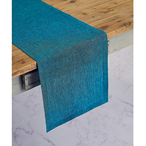 Solino Home 100% Pure Linen Table Runner – 14 x 108 Inch Athena, Handcrafted from European Flax, Natural Fabric Runner – Teal Blue