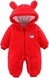 Fulision Baby Autumn Winter Warm Romper Solid Color Zipper Long Sleeve Hooded Coat