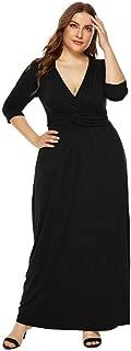Women's Short Sleeve Loose Plain Maxi Dresses Casual Long DresseLIM&Shop Sexy Cap V-Neck Flowy Cocktail Gown Plus Size