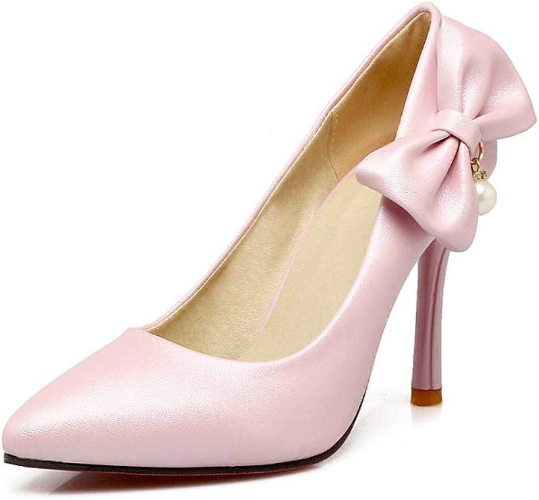 HLG HLG HLG Der hochhackige Schuh der Frauen Bowknot PU zeigte flache Stilettabsatzhochzeitspumpen-Gerichtschuhe  71da6e