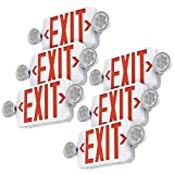 SASELUX Red Led Exit Sign Emergency Light Combo Adjustable Two Head, Double Sided and Battery Backup Exit Light, Contractor Select, AC 120/277V (6 Pack)