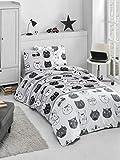 KESTEX, biancheria da letto 2 pezzi, in cotone renforcé Kitty Gatto grigio 135 x 200 cm 80 x 80 cm