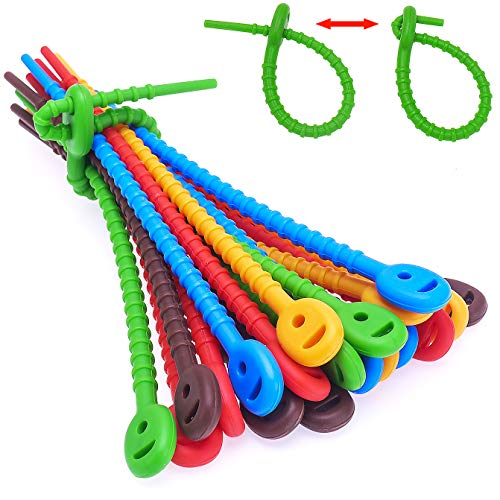 (30 PCs) 6.5 Inch Reusable Silicone Zip Ties, Durable Cable Ties, Bag Seal Clips, Cable Straps, Bread Ties, Rubber Twist Ties, All-Purpose Silicone Ties, Silicone Cords, Household Snake Ties