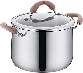 WWSHM Crisol de la sopa Pot Olla Cacerola de acero inoxidable con tapa clásico del cocinero con el Propósito de la cubierta cocineros estándar Quart Gachas Guiso hogar Utensilios de cocina de inducció