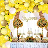 Sunflower Yellow Balloons Garland Arch Kit Yellow Gold White Balloons and Sunflower Vines for Sunflower Bee Theme Birthday Baby Shower Wedding Decorations