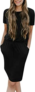 Winsummer Short Sleeve Dresses for Women Elegant Ladies Wear to Work Casual Pencil Dress with Belt