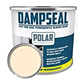 Polar Anti Damp Paint, Damp Proof Paint Stain Blocker Seals in One Coat for Brick, Concrete, Cement and Plaster Walls - Damp Seal Matt Finish (White 1 Litre)