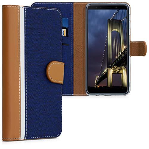 kwmobile Funda Compatible con Samsung Galaxy A7 (2018) - De Cuero sintético - Case con Tarjetero en Azul Oscuro/marrón/Blanco