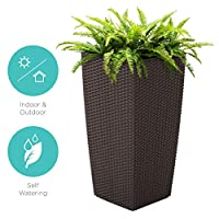 Best Choice Products Indoor Outdoor Self-Watering Planter w/Wheels, Water Gauge, Liner, Handles, Drainage Plug - Brown
