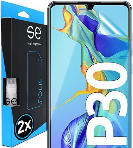 [2 Stück] 3D Schutzfolien kompatibel mit Huawei P30, hüllenfre&liche durchsichtige HD Bildschirmschutz-Folie, Schutz vor Dreck & Kratzern, kein Schutzglas - smart engineered