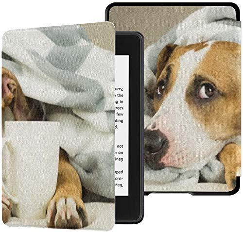 Geheel nieuwe Kindle Paperwhite waterveilige stoffen hoes (10e generatie, 2018 release), grappige jonge Pitbull hondenmand bedekte tablethoes