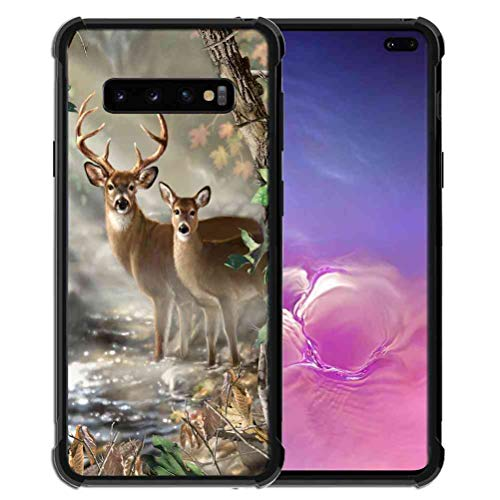 for Samsung Galaxy S10 Plus Case Vector Forest Deer Pattern, ABLOOMBOX Slim Thin Anti-Scratch Flexible Bumper Case with Reinforced Corner for Galaxy S10 Plus (2019) Case