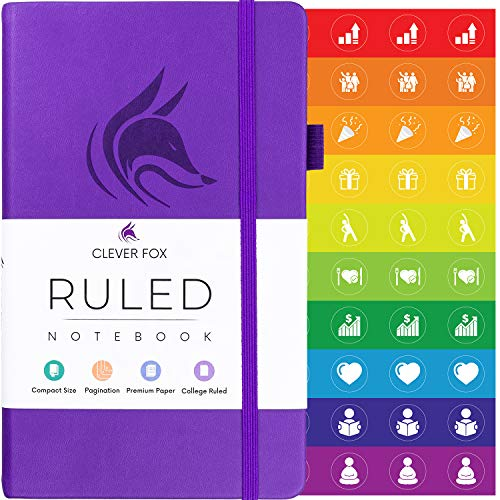 Clever Fox Ruled Notebook - Ruled Numbered Pages Hard Cover Notebook Journal With Thick 120g Paper and Pen Loop, Stickers, 3 Bookmarks, Smooth Faux Leather, 5.12'' x 8.27'' - Purple